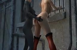 Sesso lesbico hentai all'aperto