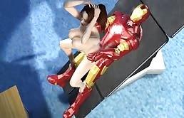 Parodia porno con una brunetta fottuta da Iron Man